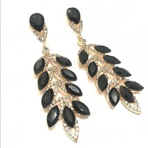 Black leaf earrings with crystal & rhinestone
